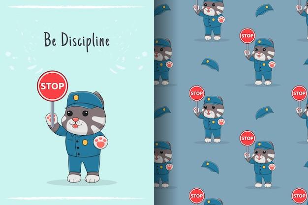 Ilustração e padrão sem emenda de gato policial fofo