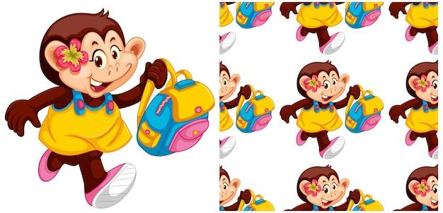 Ilustração e padrão sem emenda de macaco