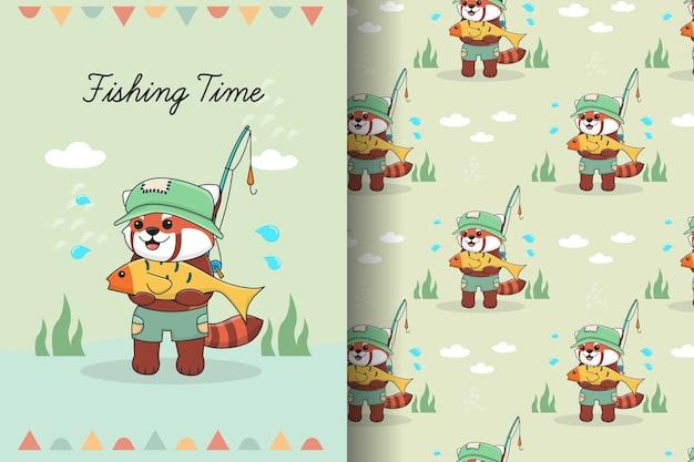 Ilustração e padrão sem emenda de pesca de panda vermelho fofo