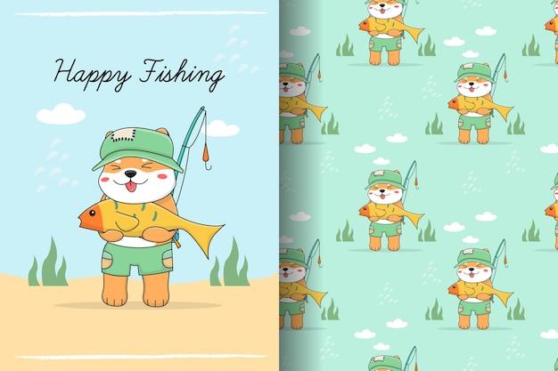 Ilustração e padrão sem emenda de pesca shiba inu bonito