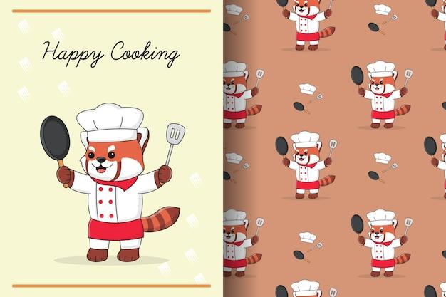 Ilustração e padrão sem emenda do chef fofo panda vermelho