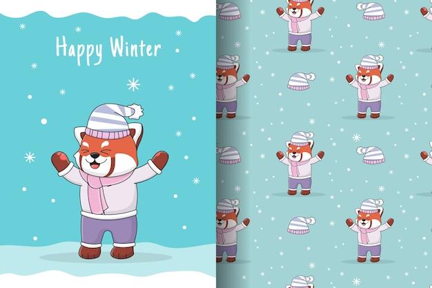 Ilustração e padrão sem emenda do panda vermelho da neve fofo