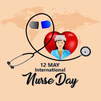 Ilustração e plano de fundo do dia internacional da enfermeira