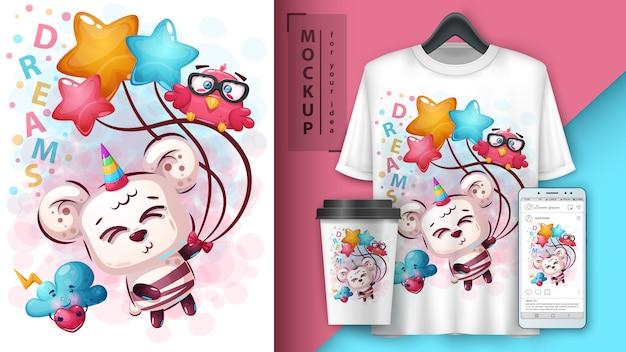 Ilustração e unicórnio de urso fofo e merchandising