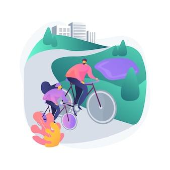 Ilustração ecológica do conceito abstrato da via verde. ecologia da paisagem, plano do sistema de vias verdes, planejamento de espaço aberto, recursos naturais, informações geológicas, solo e água