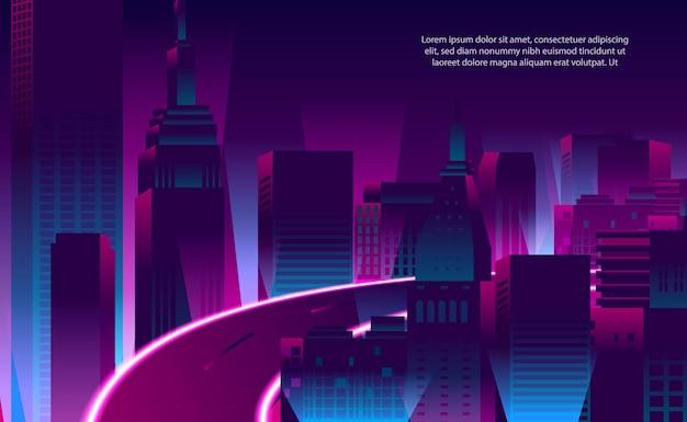 Ilustração edifício de arranha-céu pop da cidade de cor de néon magenta roxo com estrada para o fundo