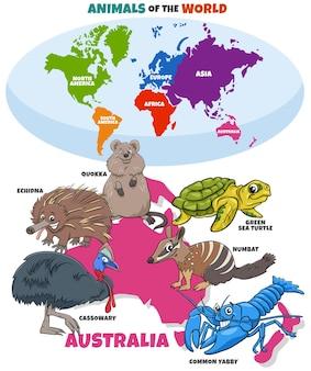 Ilustração educacional com desenhos animados de animais australianos e mapa-múndi