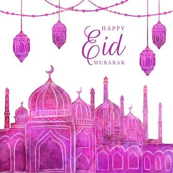 Ilustração eid al-fitr em aquarela pintada à mão