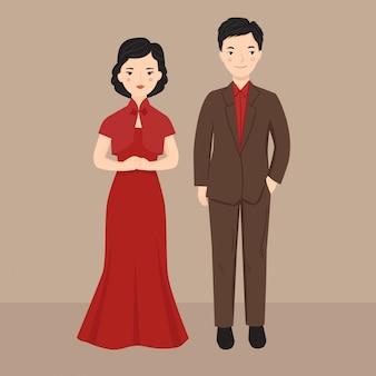Ilustração elegante casal chinês