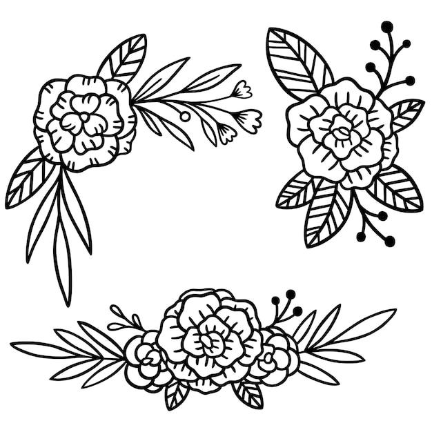 Ilustração elegante conjunto de flores desenhadas à mão