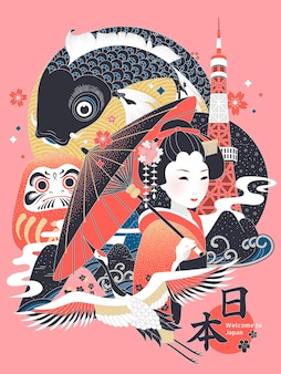 Ilustração elegante do conceito do japão, símbolo cultural com o nome do país do japão na palavra japonesa