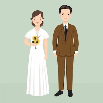 Ilustração elegante dos noivos