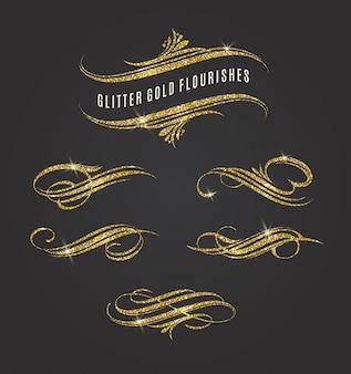 Ilustração - elementos de glitter dourados