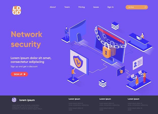 Ilustração em 3d da página de destino isométrica de segurança de rede com personagens de pessoas