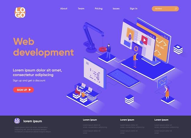 Ilustração em 3d isométrica do site da página de destino do desenvolvimento web com personagens de pessoas