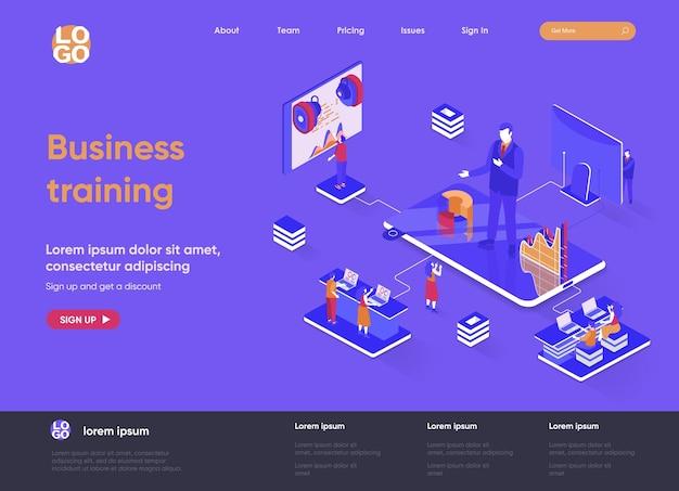 Ilustração em 3d isométrica do site da página de destino do treinamento empresarial com personagens de pessoas