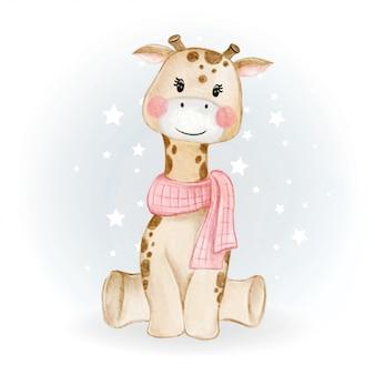 Ilustração em aquarela adorável adorável kawaii bebê girafa