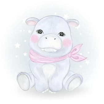 Ilustração em aquarela adorável bebê hipopótamo