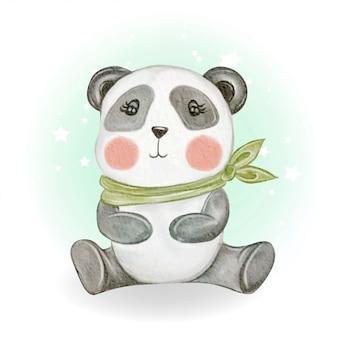 Ilustração em aquarela adorável panda bebê fofo kawaii