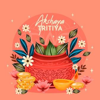 Ilustração em aquarela akshaya tritiya