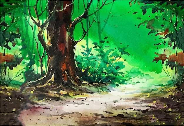 Ilustração em aquarela as árvores na beira da estrada