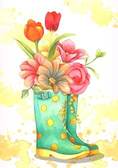 Ilustração em aquarela. botas de borracha de bolinhas amarelas