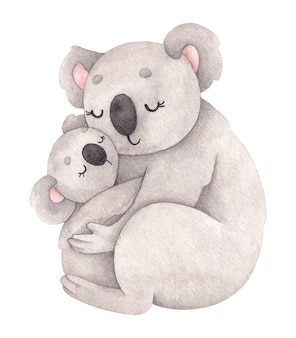 Ilustração em aquarela com a mãe coala e seu bebê