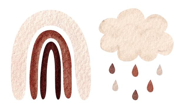 Ilustração em aquarela com arco-íris neutro calmo na moda, nuvem, gotas de chuva isoladas em branco. chá de bebê, decoração de berçário. cores da pele.