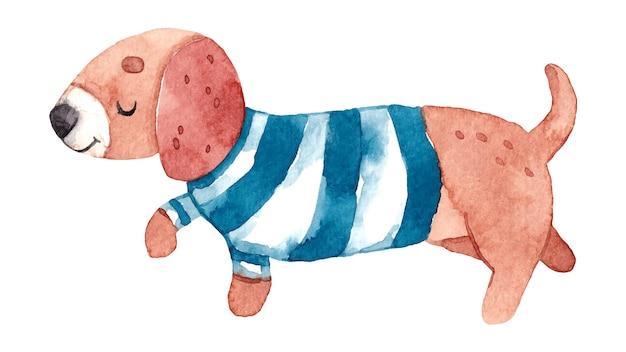 Ilustração em aquarela com cachorro bassê fofo vestindo roupas