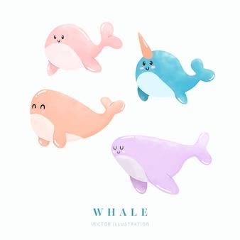 Ilustração em aquarela com conjunto de baleia bonito dos desenhos animados