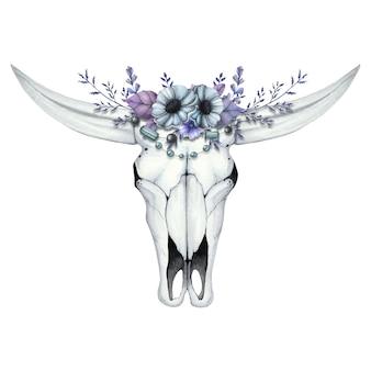 Ilustração em aquarela com crânio de búfalo e coroa de flores