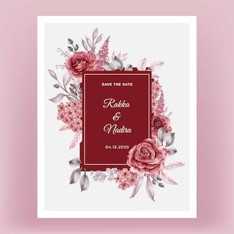 Ilustração em aquarela com moldura floral rosa vermelha bordô