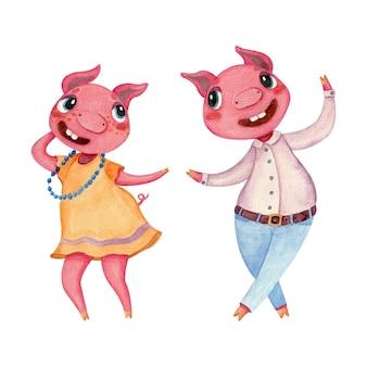 Ilustração em aquarela com porcos dançando