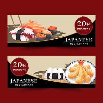 Ilustração em aquarela com sushi criativo-temático para banners, propaganda e folheto.
