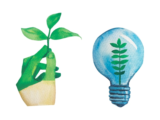 Ilustração em aquarela conceito zero resíduos.