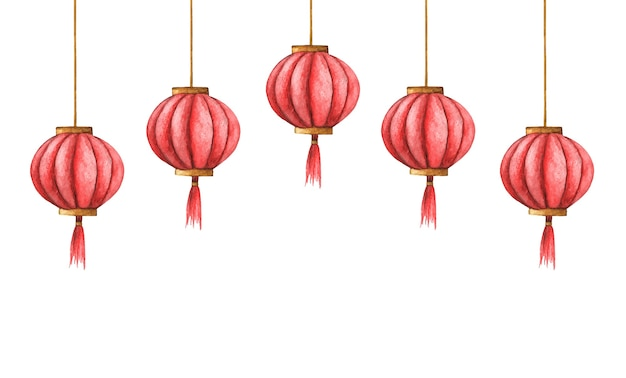 Ilustração em aquarela das lanternas chinesas. luzes vermelhas chinesas.