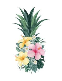 Ilustração em aquarela de abacaxi com arranjo floral tropical