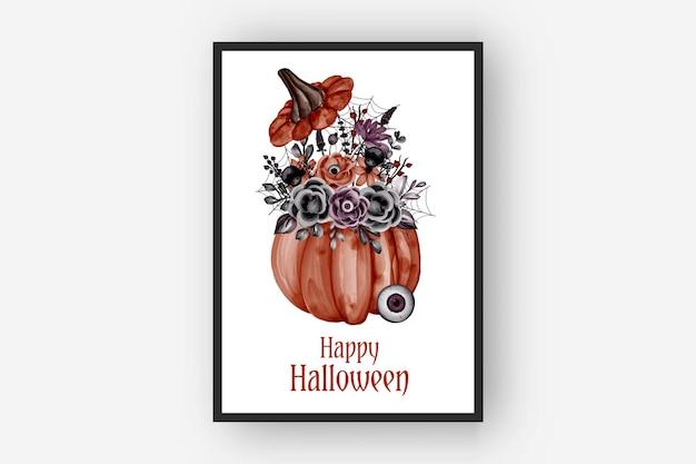 Ilustração em aquarela de abóbora com arranjos de flores para halloween