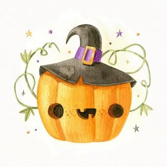 Ilustração em aquarela de abóbora de halloween
