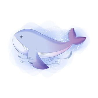 Ilustração em aquarela de animal fofo baleia azul