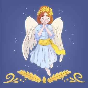 Ilustração em aquarela de anjo de natal