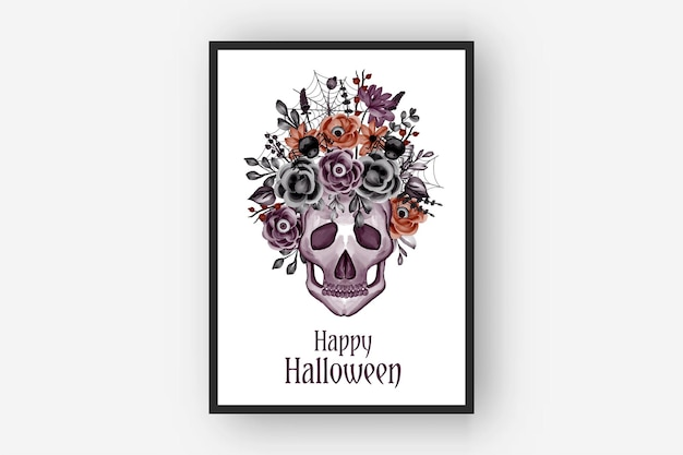 Ilustração em aquarela de aranha e caveira com arranjos de flores para halloween