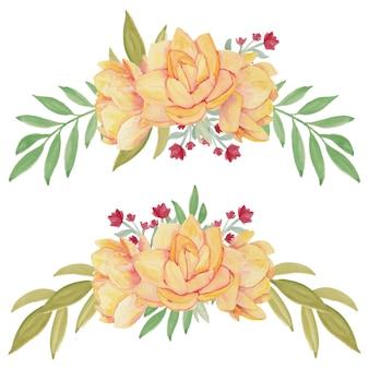 Ilustração em aquarela de arranjo de flores de lótus amarelo