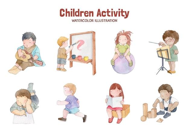 Ilustração em aquarela de atividades infantis desenhadas à mão