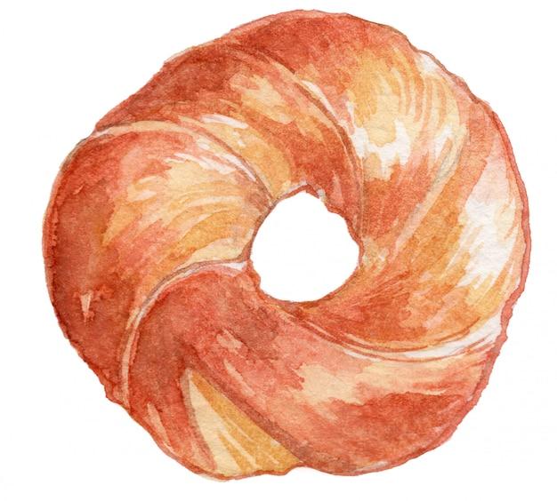 Ilustração em aquarela de bagel
