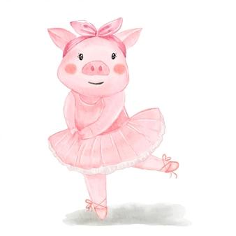 Ilustração em aquarela de bailarina porco bonito