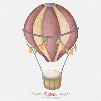 Ilustração em aquarela de balão, com fundo de papel. para design, estampas, tecido ou fundo