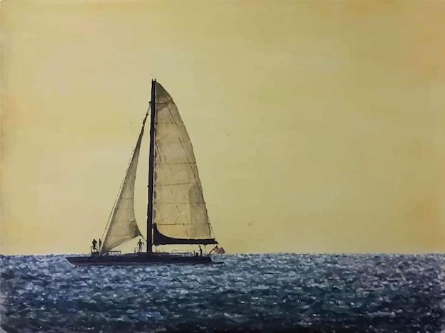 Ilustração em aquarela de barco à vela desenhada à mão no mar