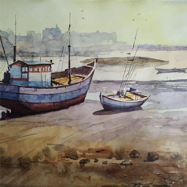 Ilustração em aquarela de barco à vela desenhada à mão