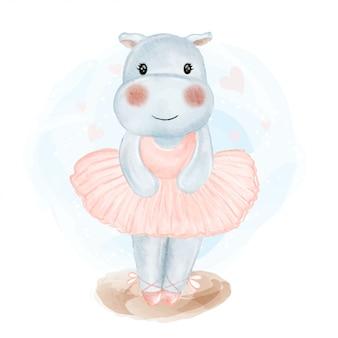 Ilustração em aquarela de bebê fofo hipopótamo bailarina
